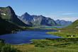 Fototapeten,lofoten,fjord,fähre,rettungsboot