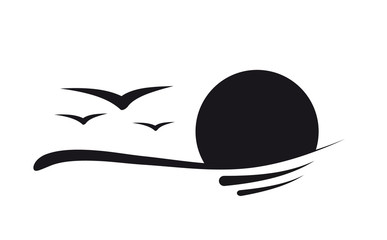 Sonnenuntergang silhouette logo