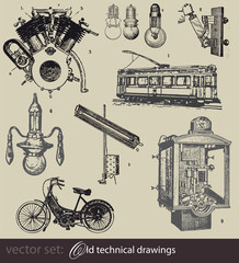 vector set: Old technical drawings