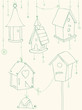 Greeting Card with Birds and Bird Houses doodles - for design an