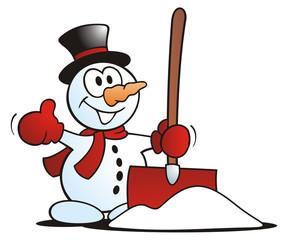 Little Snowman with Snow Shovel