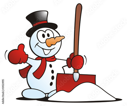 Little Snowman with Snow Shovel