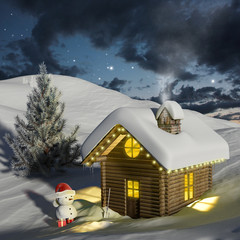 Log house in the snow at Christmas