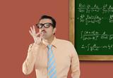 Genius nerd glasses silly man board math formula poster