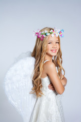 Angel children little girl portrait fashion white wings