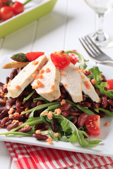 Chicken breast fillet with lentil and bean salad