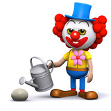 3d Clown waters a rock with his watering can