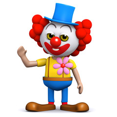 3d Clown is waving hello