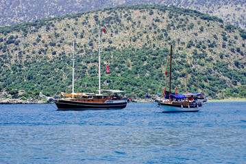 The yacht anchored in Kekova, Turkey