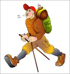 Wanderer mit Nordic-walking Stock