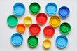Colorful plastic bottle screw caps used to seal plastic bottles
