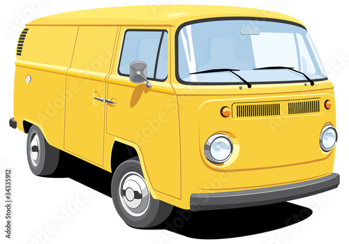 Vector isolated delivery van, without gradients