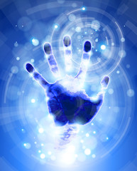 handprint & blue radial abstract light background