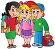 Three happy school kids
