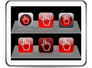 Pixel hand red app icons.