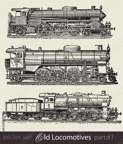 vector set: old locomotives #part1
