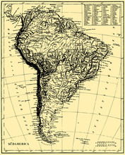 Vector Historical map of Sud America.