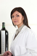 Woman in a wine laboratory