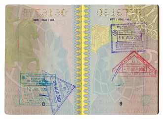 Italian passport inside pages with visa.