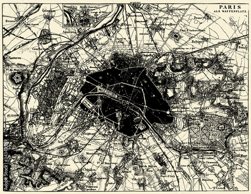 Vector Historical map of Paris