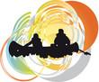 tourists in canoe kayaking across the river. Vector illustration