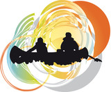tourists in canoe kayaking across the river. Vector illustration