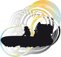 Airboat vector illustration