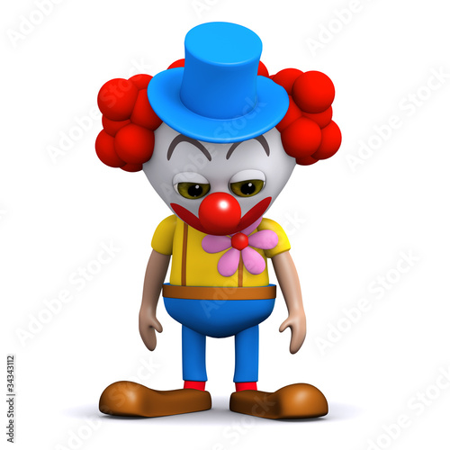 3d Clown is very sad