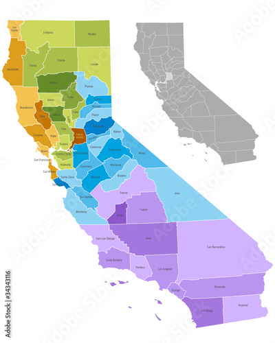California state counties map with boundaries and names