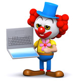 3d Clown gets confused by technology