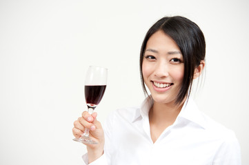 beautiful asian woman drinking