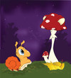 Fairy tale about a snail and a mushroom a fly agaric.Cartoon