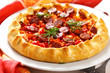 Open pie with sweet potato, sausage and red pepper