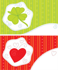 Greeting cards, luck, love. Patchwork , vector illustration