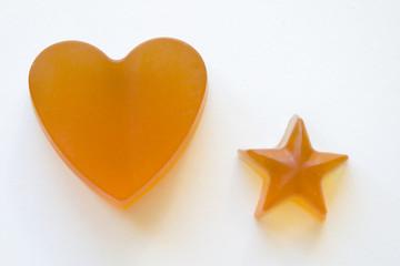 Jabones de Glicerina y Miel con forma de Corazón y Estrella