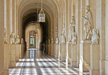 Interior hallway at the Palace of Versailles near Paris