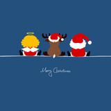 Santa, Angel & Reindeer Blue