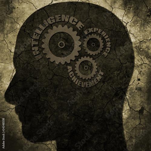 grunge head with success gears