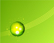 Green glass sphere vector background