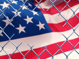 Illegal immigration concept , 3d illustration poster