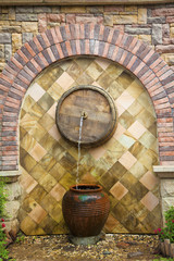 brick water fountain