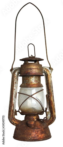 Old oil lamp, isolated on white background
