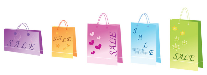 Bags from shopping isolated