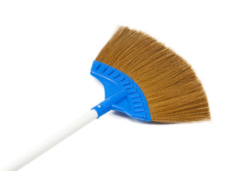 Blue broom isolated on white