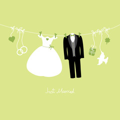 Hanging Wedding Symbols Just Married Green