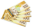 Five of $100 Canadian Banknotes. With clipping path.