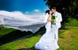 married couple posing in park.wind lifting long bridal veil