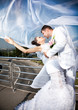 married couple covered with white veil kissing outdoor