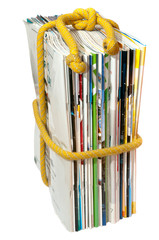 a stack of magazines on the rope