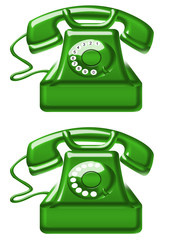green old telephones